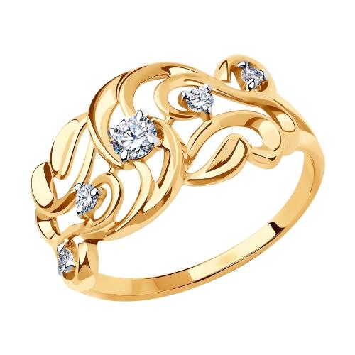 Золотое кольцо с фианитами SOKOLOV 018447 в Екатеринбурге