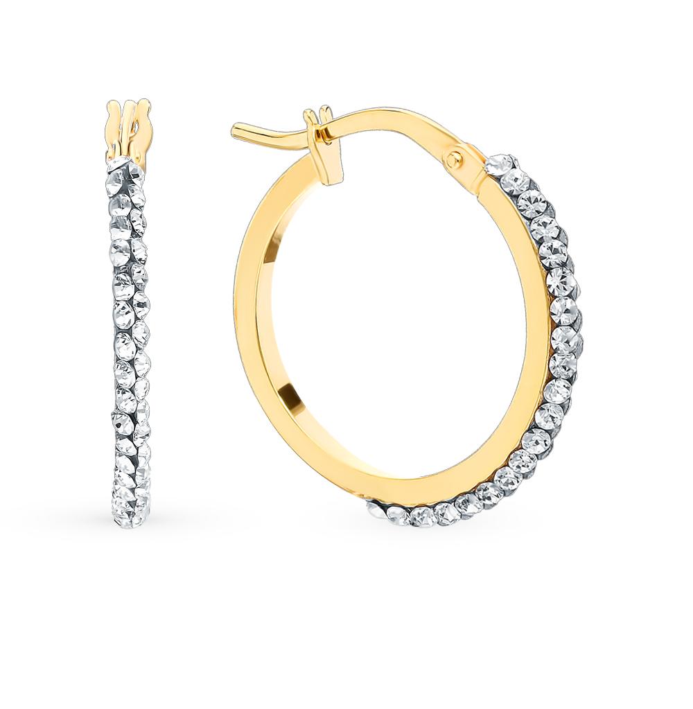 золотые серьги с кристаллами