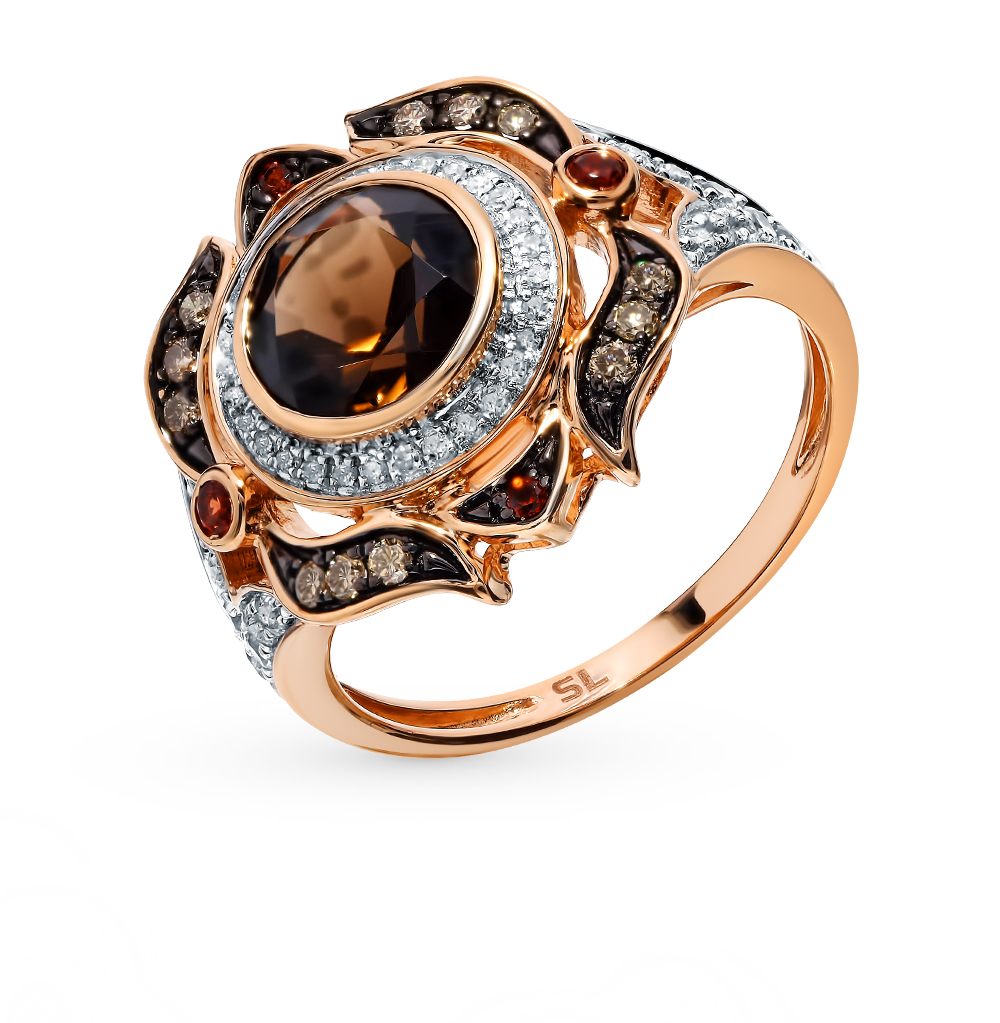 Золотое кольцо с коньячными бриллиантами, сапфирами, гранатами и раухтопазом