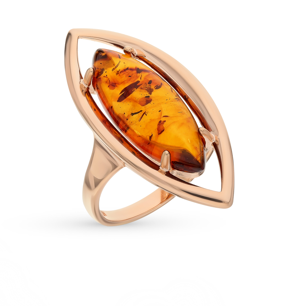 серебряное кольцо с янтарем SOKOLOV 83010036