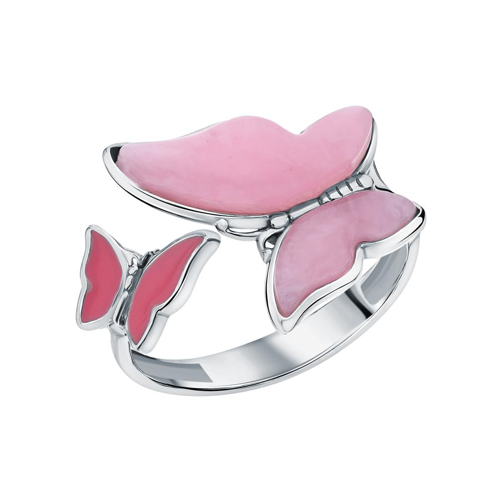 Фото «Серебряное кольцо с эмалью и кварцами синтетическими»