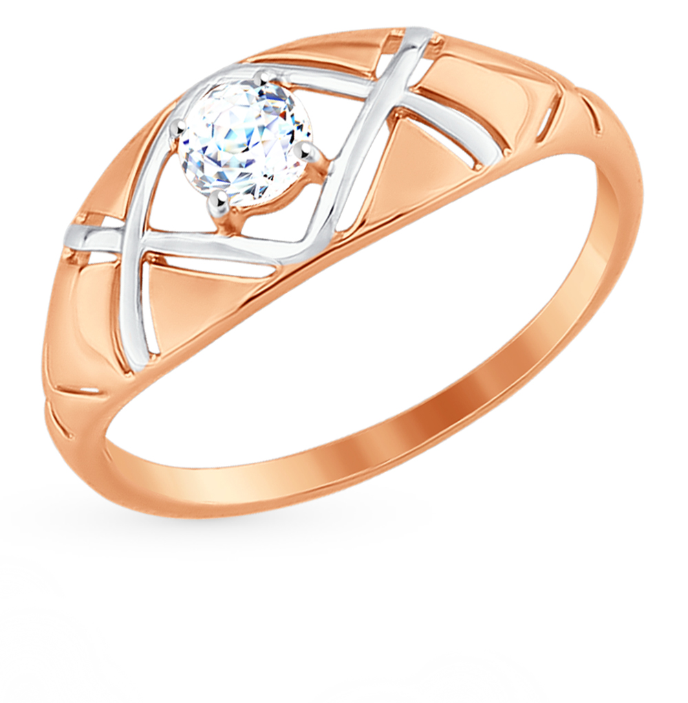 золотое кольцо с фианитами SOKOLOV 81010320*