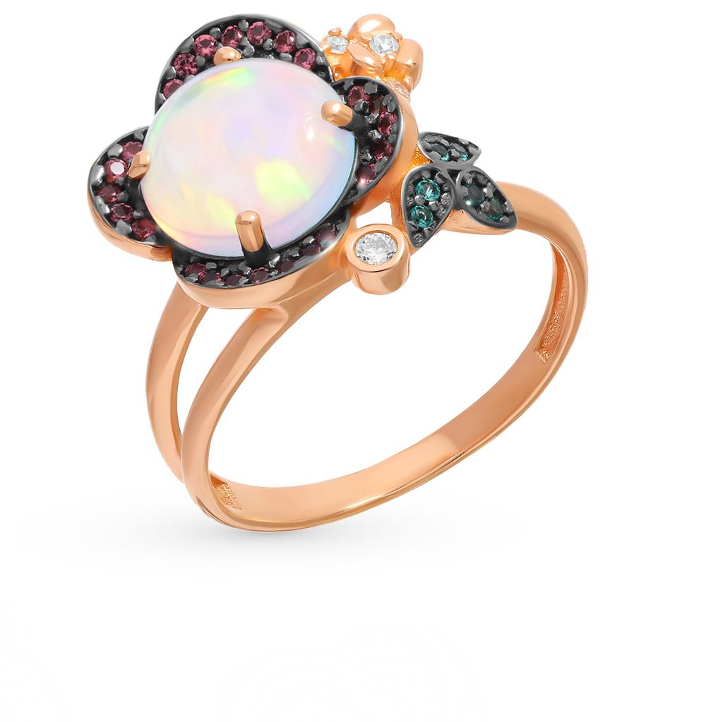 Фото «Серебряное кольцо с турмалинами, нанокристаллами, фианитами, изумрудами и опалами»