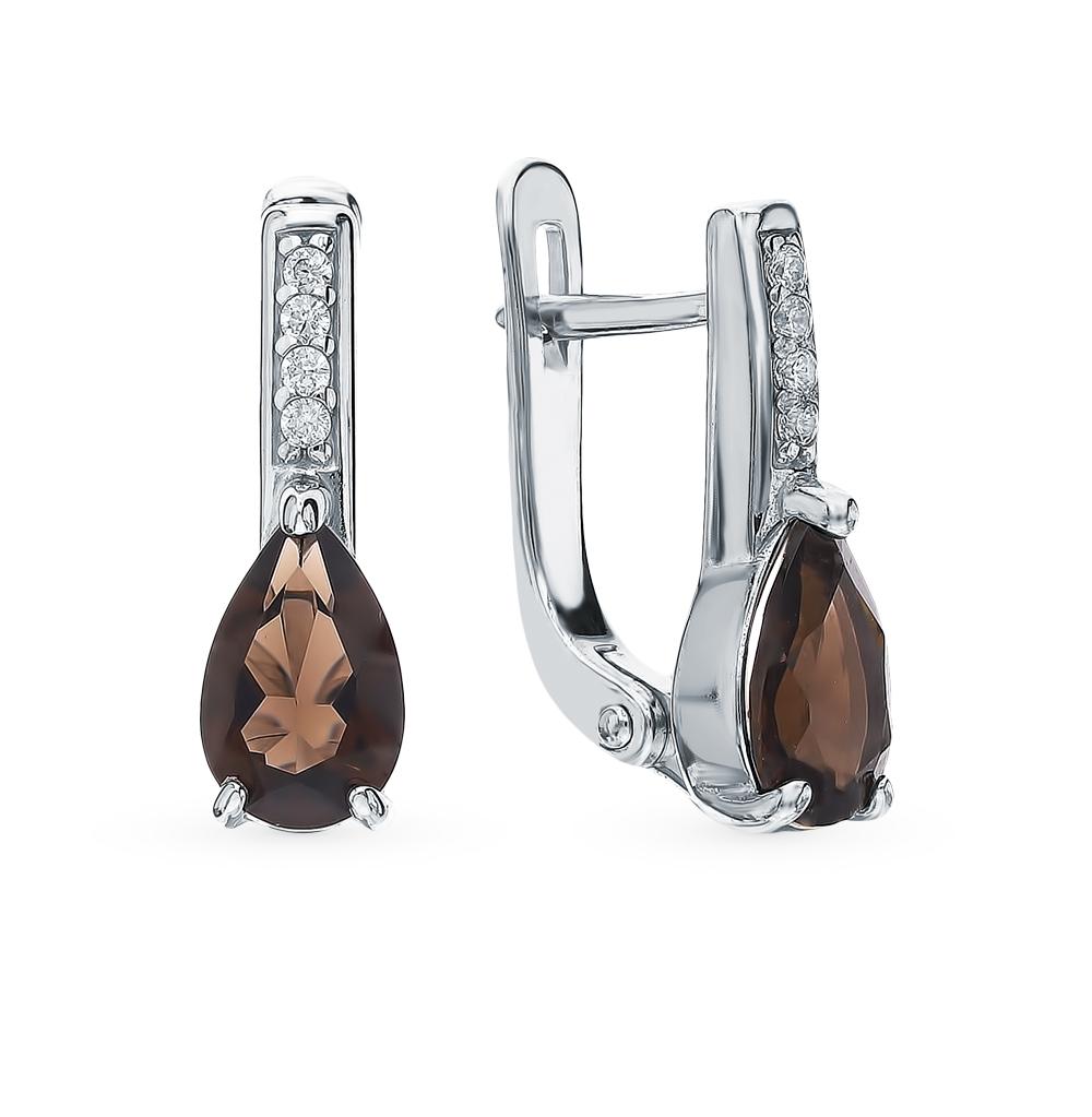 Серебряные серьги с раухтопазами и фианитами в Екатеринбурге