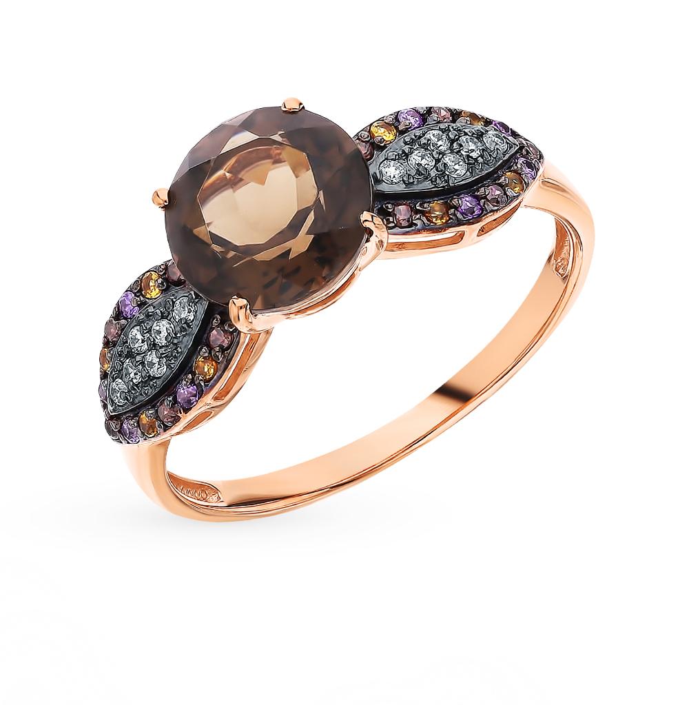 Золотое кольцо с раухтопазами, фианитами и цитринами в Санкт-Петербурге