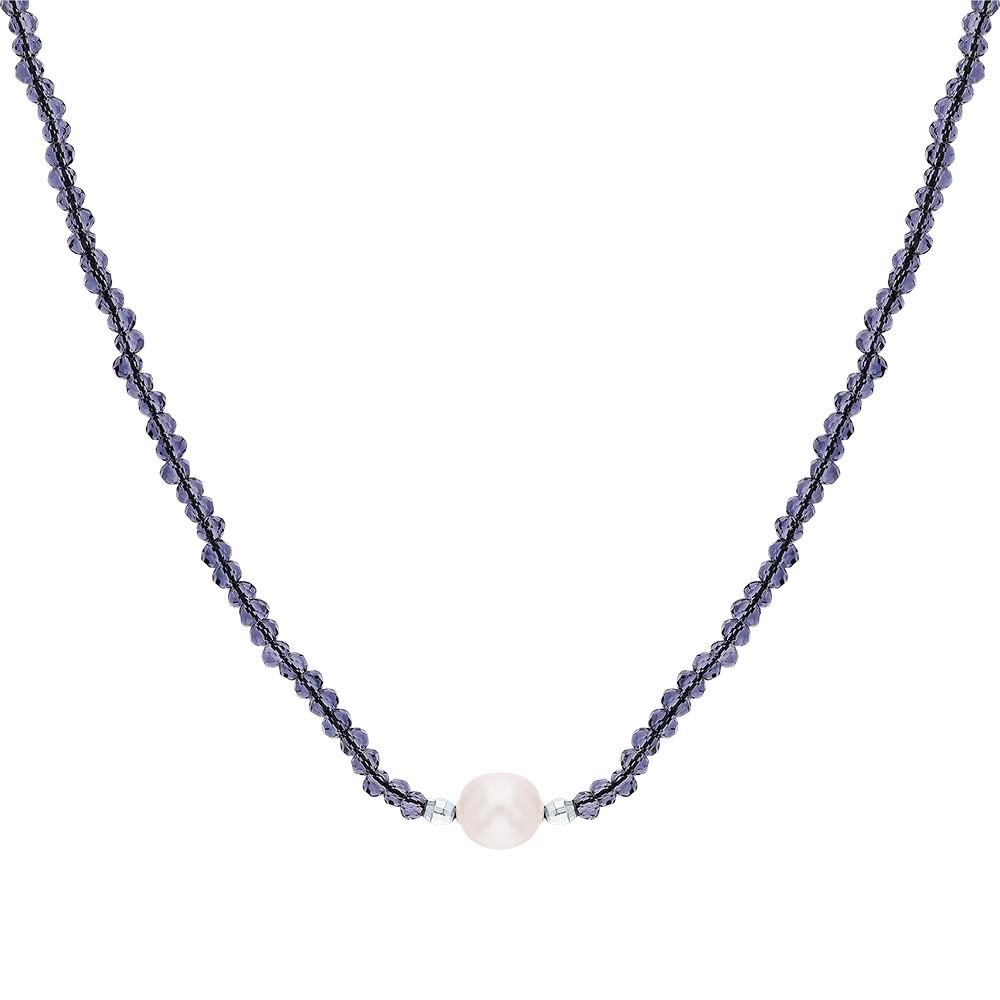 Фото «Серебряное колье с жемчугом и ювелирными кристаллами»
