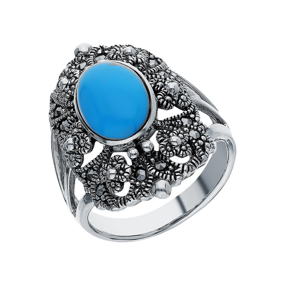 Фото «Серебряное кольцо с бирюзой и марказитами swarovski»