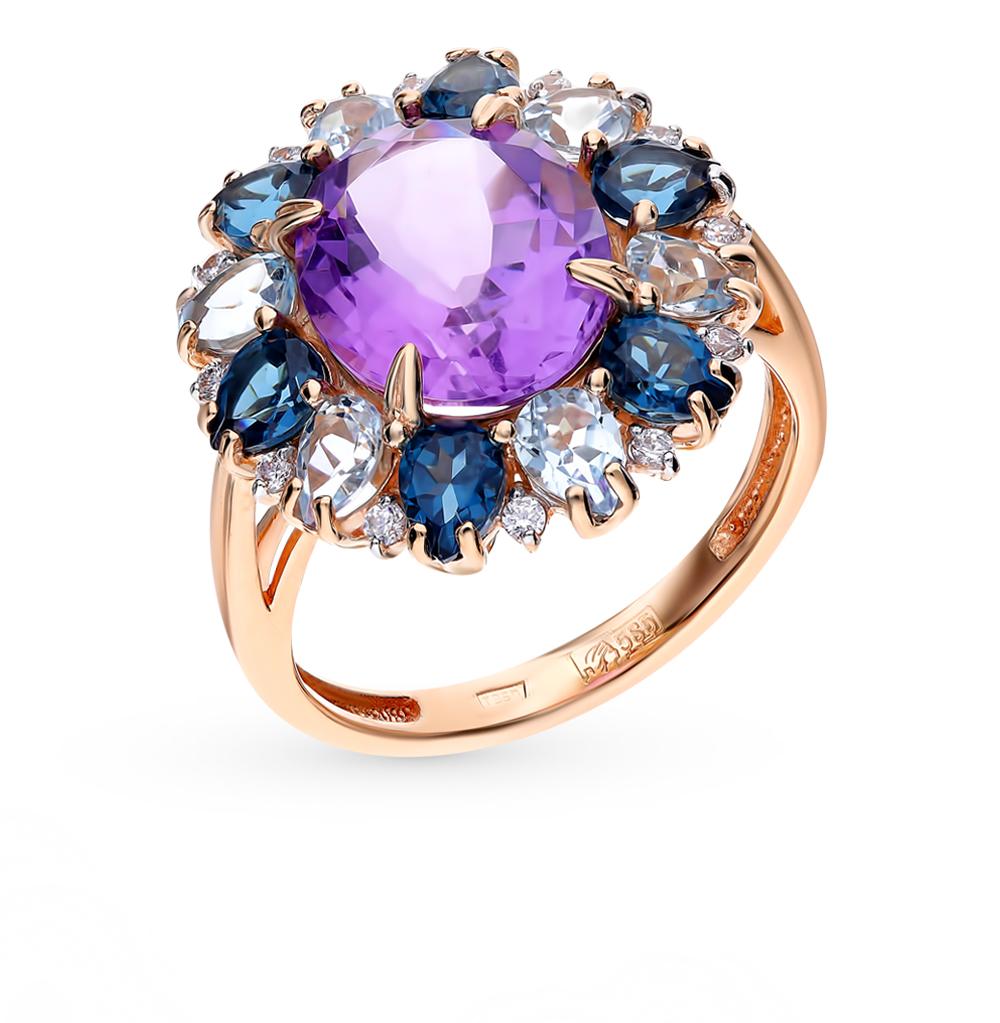 золотое кольцо с ситаллами, аметистом, топазами и фианитами