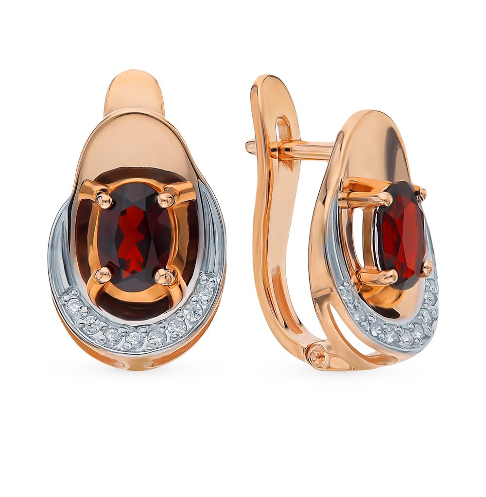 золотые серьги с фианитами и гранатом SOKOLOV 725545*