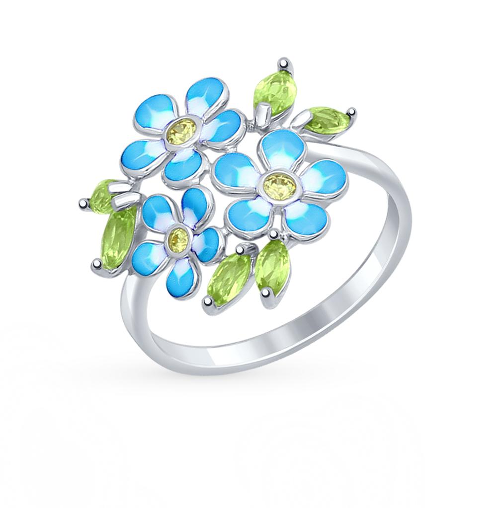серебряное кольцо с хризолитом, фианитами и эмалью SOKOLOV 92011321