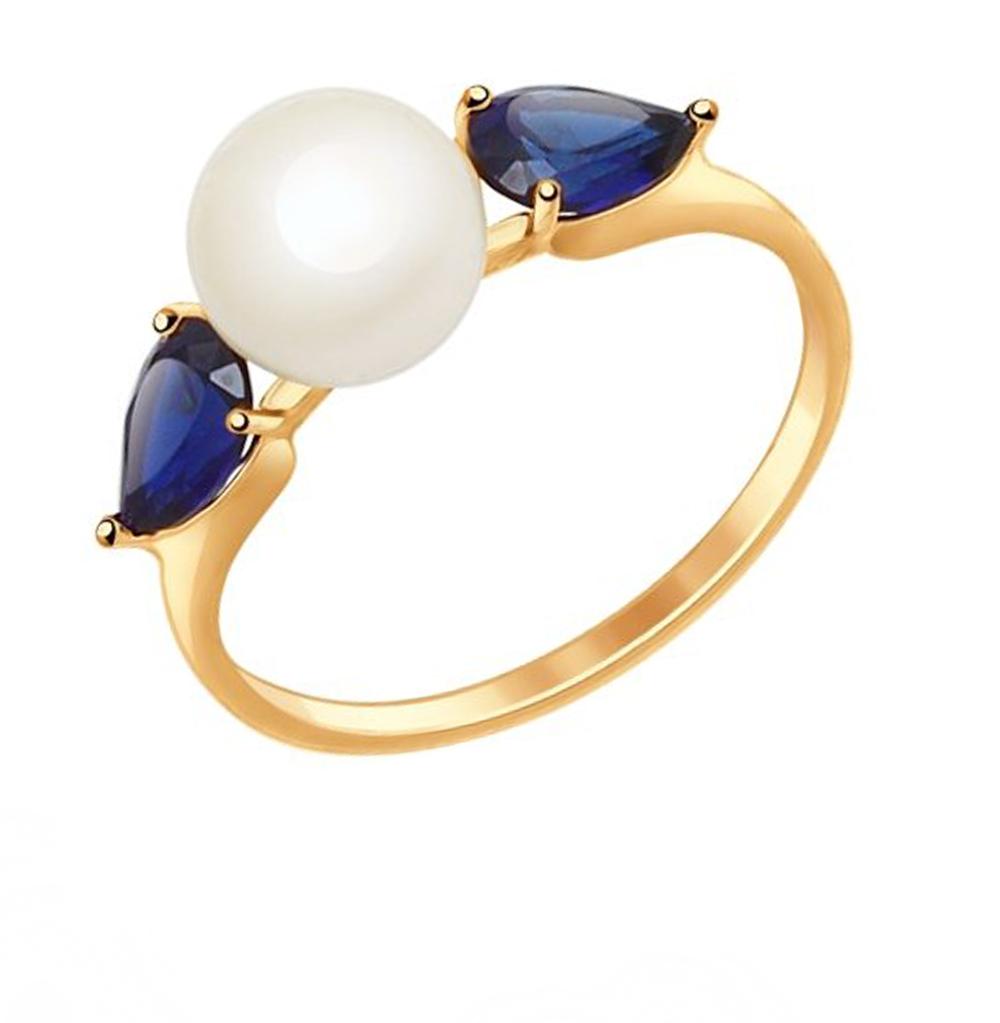 Золотое кольцо с корундом и жемчугом SOKOLOV 791035* в Санкт-Петербурге