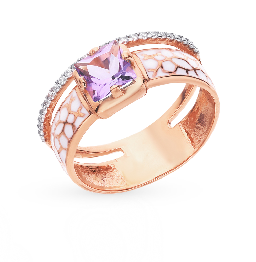 Золотое кольцо с аметистом, фианитами и эмалью в Екатеринбурге