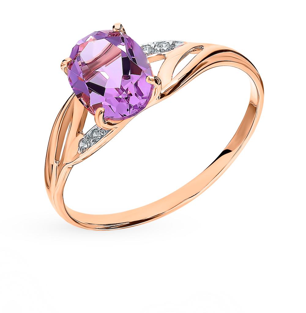 Фото «Золотое кольцо с аметистом и фианитами SOKOLOV 715946*»