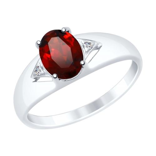Серебряное кольцо с фианитами и гранатом SOKOLOV 92011505 в Екатеринбурге