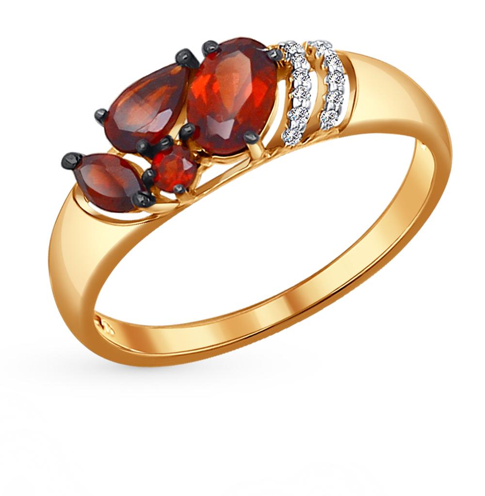 Золотое кольцо с фианитами и гранатом SOKOLOV 714047* в Екатеринбурге