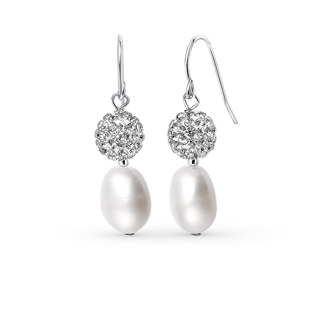 Фото «серебряные серьги с алпанитом, жемчугом, кристаллами swarovski и жемчугами имитациями»