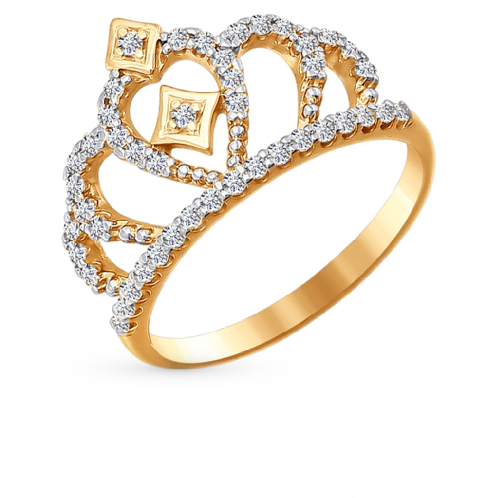 Фото «Золотое кольцо с фианитами SOKOLOV 016628*»