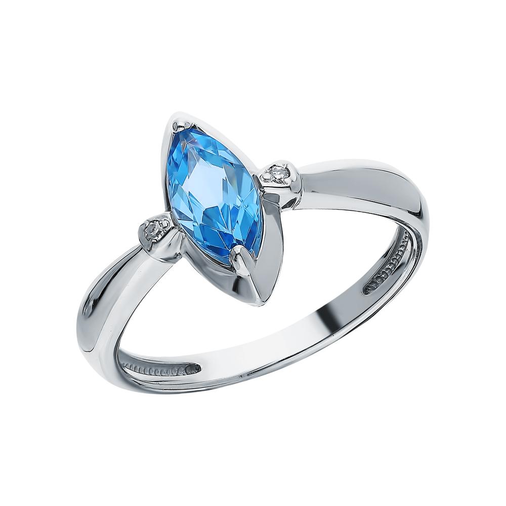 Серебряное кольцо с топазами и бриллиантами в Санкт-Петербурге