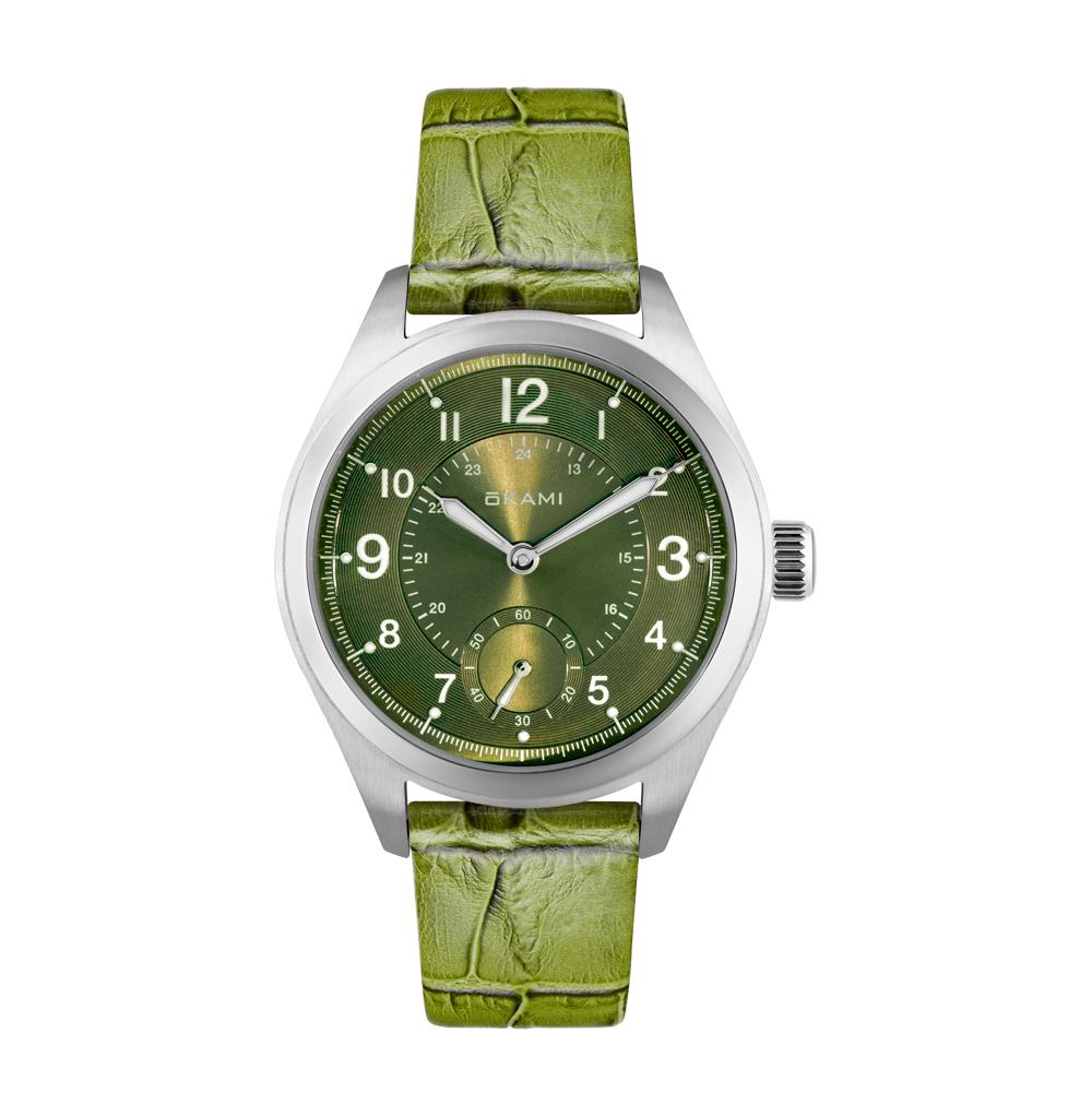 Женские часы на зеленом ремне из натуральной кожи