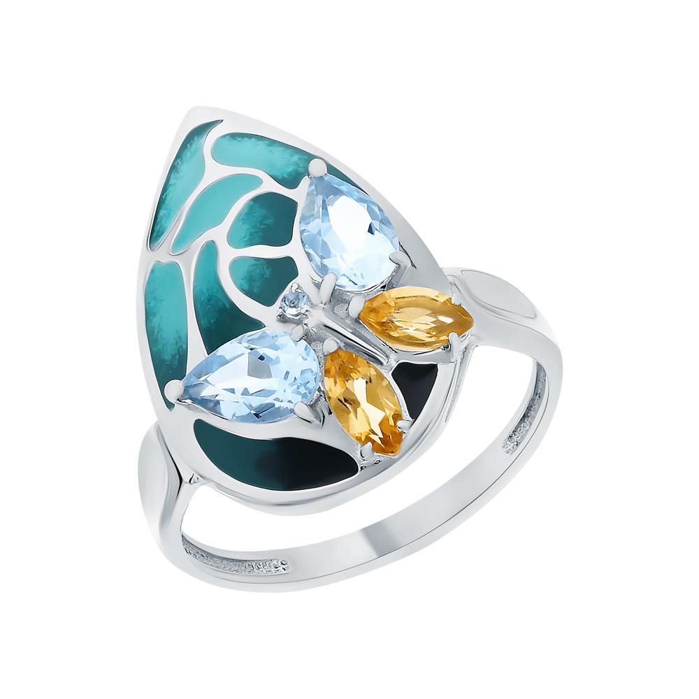 Фото «Серебряное кольцо с топазами и цитринами»