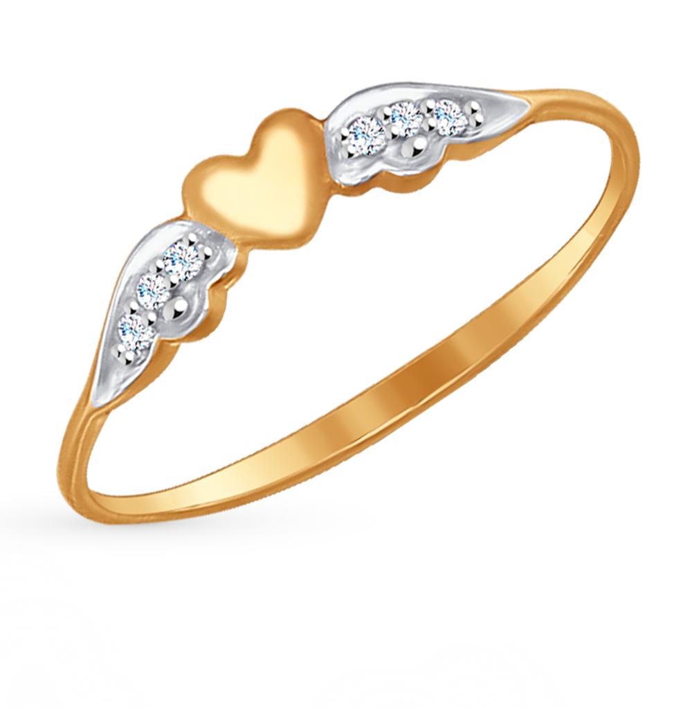 золотое кольцо с фианитами SOKOLOV 017168*