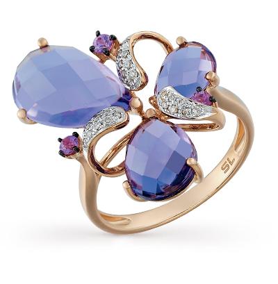 золотое кольцо с сапфирами, аметистом и бриллиантами
