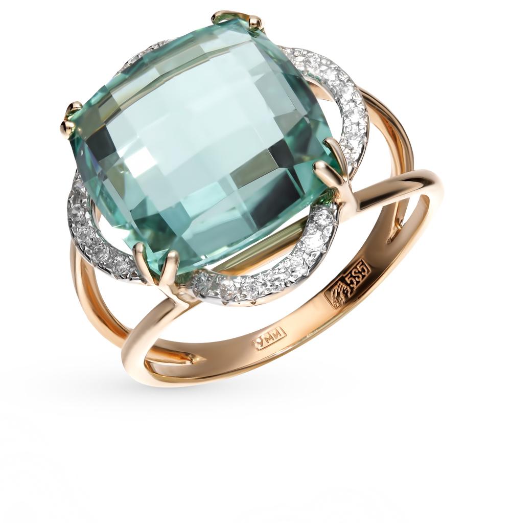 золотое кольцо с фианитами и кварцами синтетическими