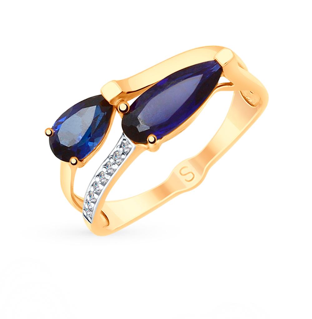 золотое кольцо с корундом и фианитами SOKOLOV 715263*