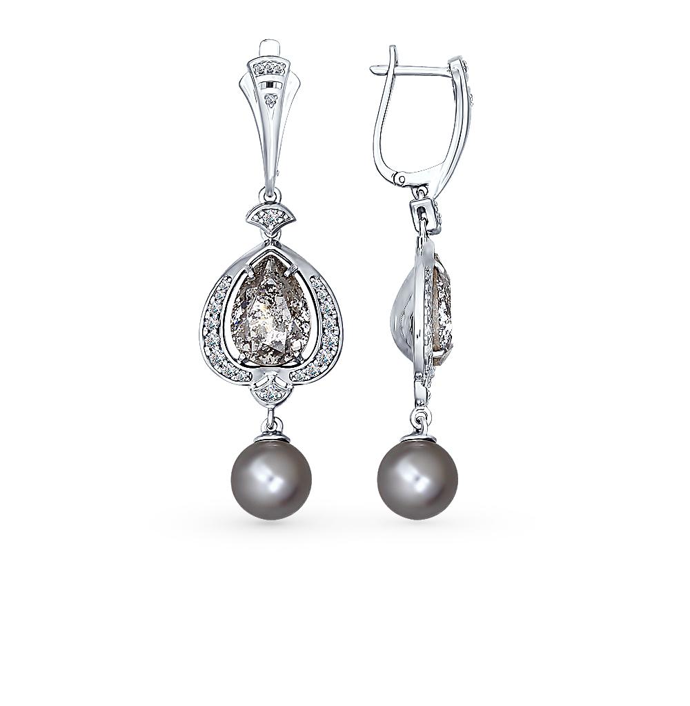 серебряные серьги с фианитами и жемчугом SOKOLOV 94022156
