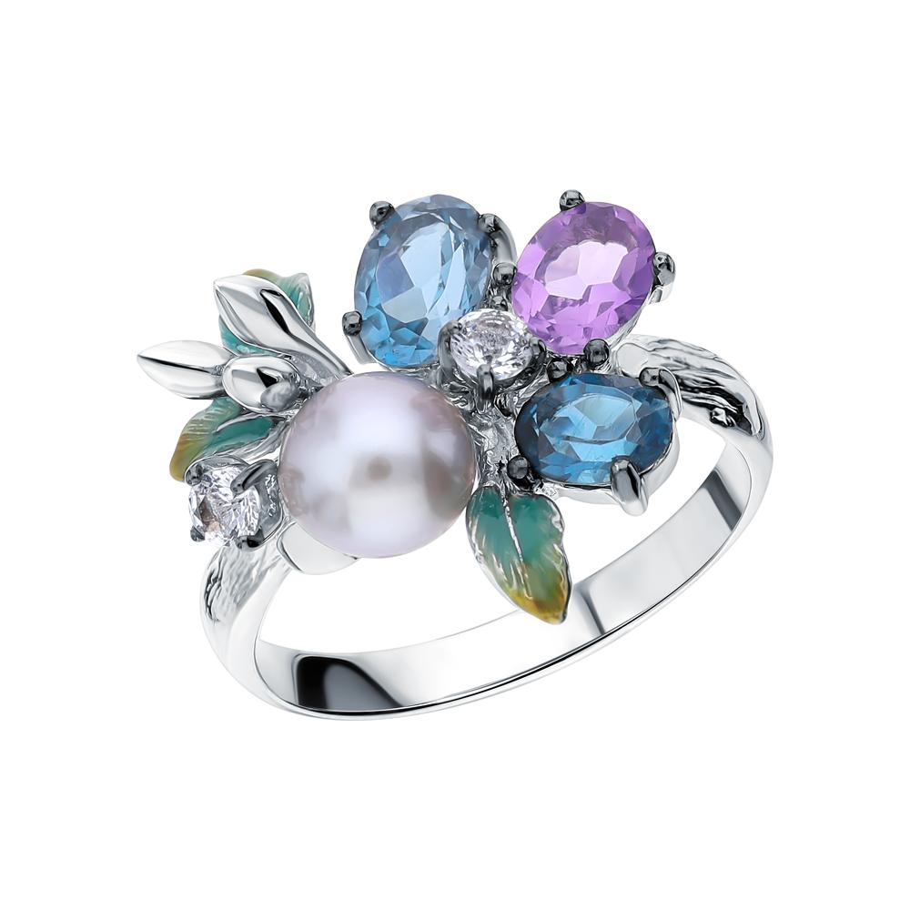 Фото «Серебряное кольцо с аметистом, топазами и жемчугами культивированными»