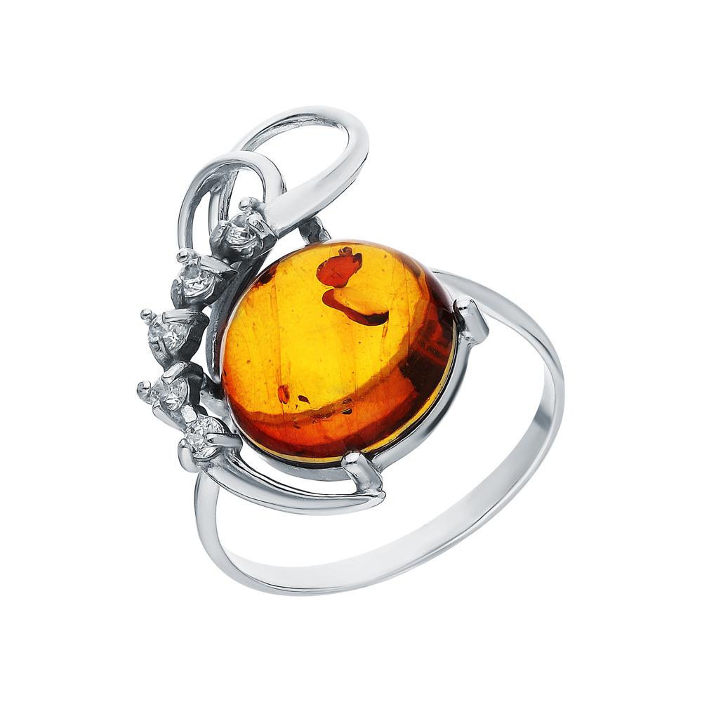 Фото «Серебряное кольцо с фианитами и янтарем»