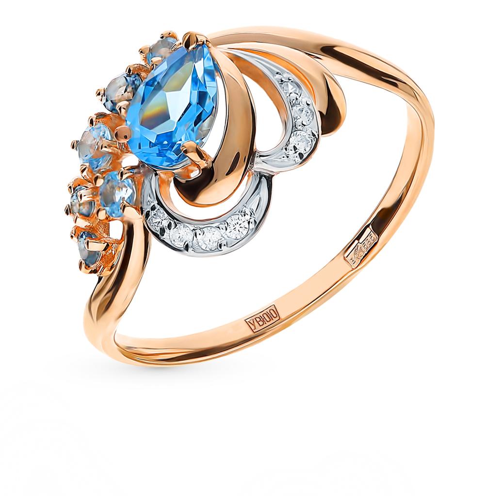 золотое кольцо с топазами и фианитами SOKOLOV 715046*