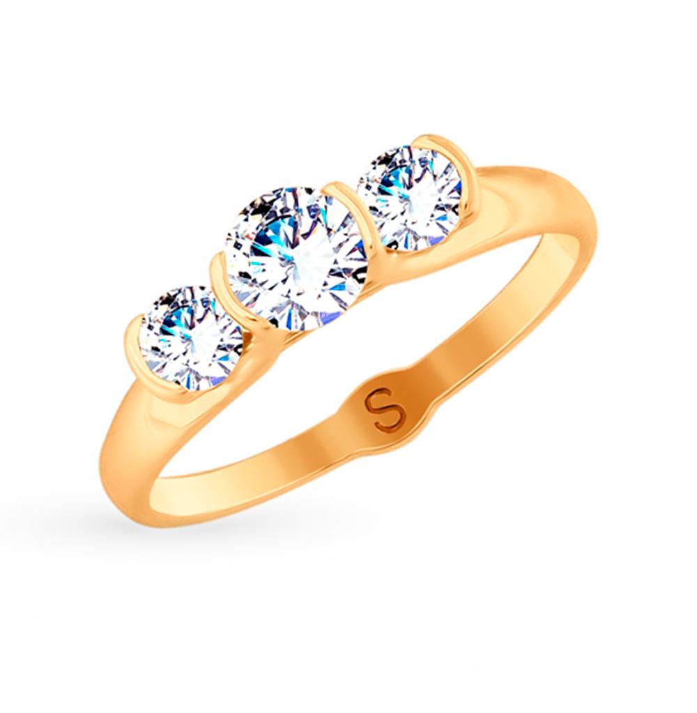 Золотое кольцо с фианитами SOKOLOV 017856 в Екатеринбурге