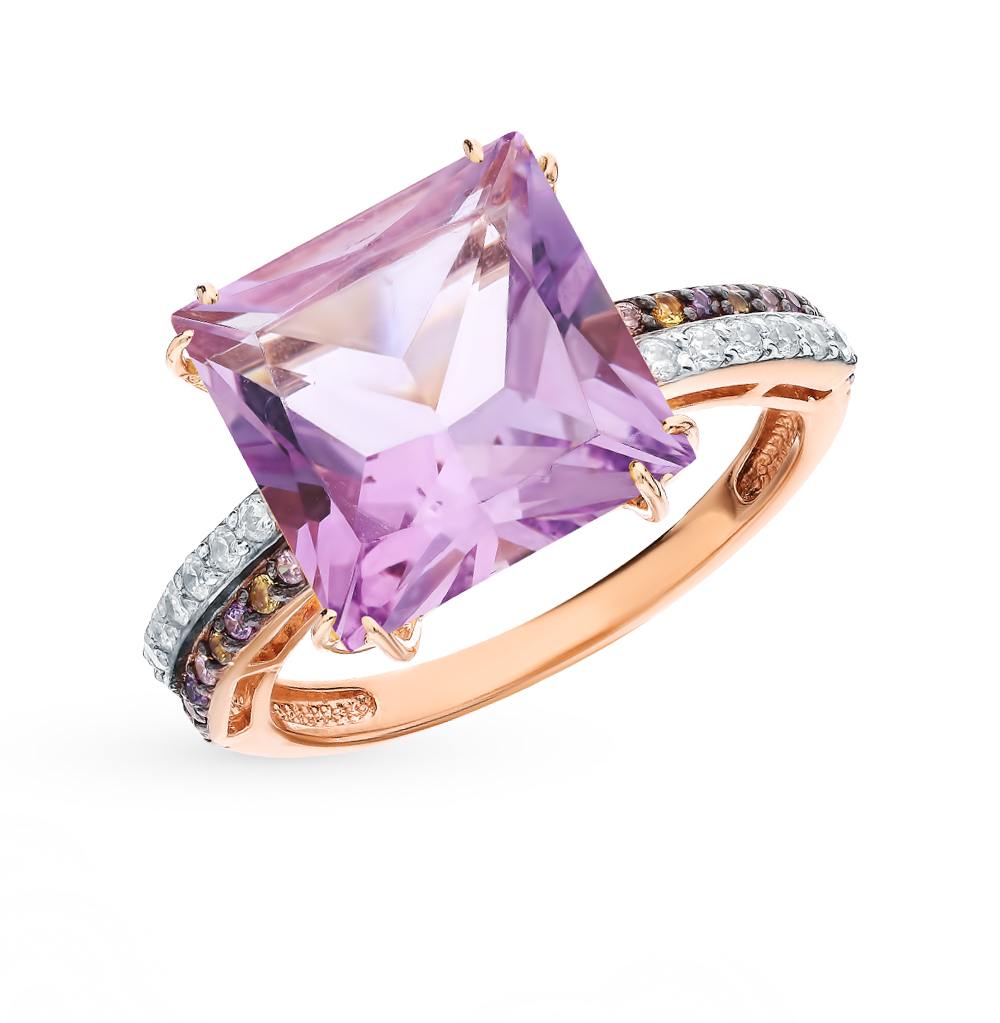 Фото «Золотое кольцо с аметистом, фианитами и цитринами»