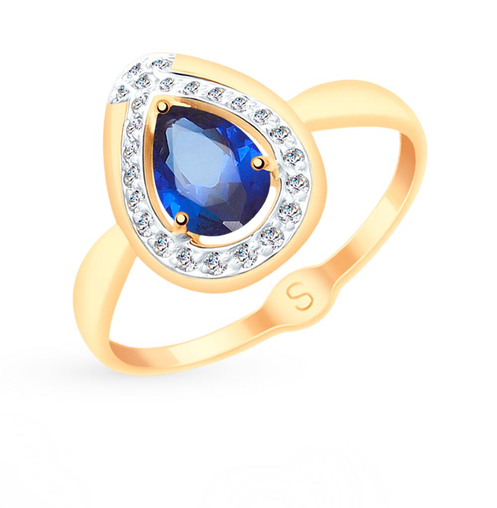 Фото «Золотое кольцо с корундом и фианитами SOKOLOV 715146»
