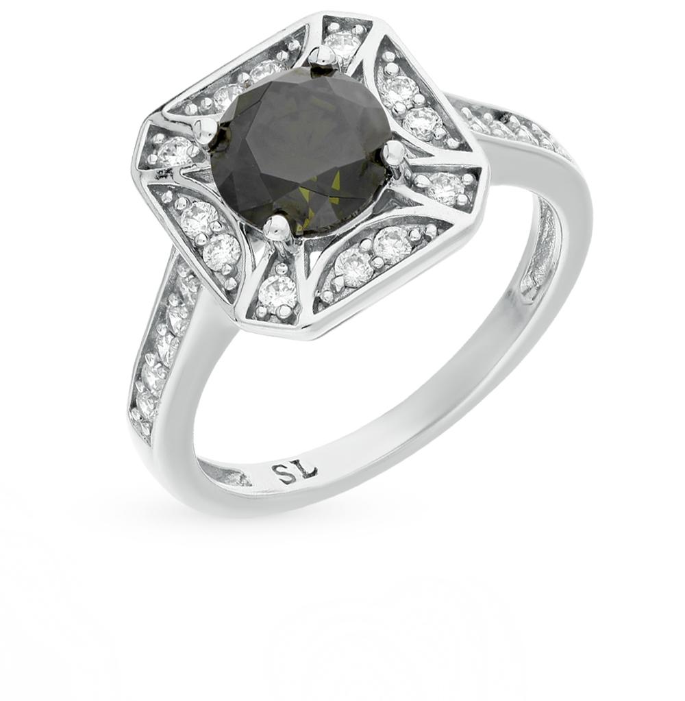 Фото «серебряное кольцо с фианитами и хризолитом»
