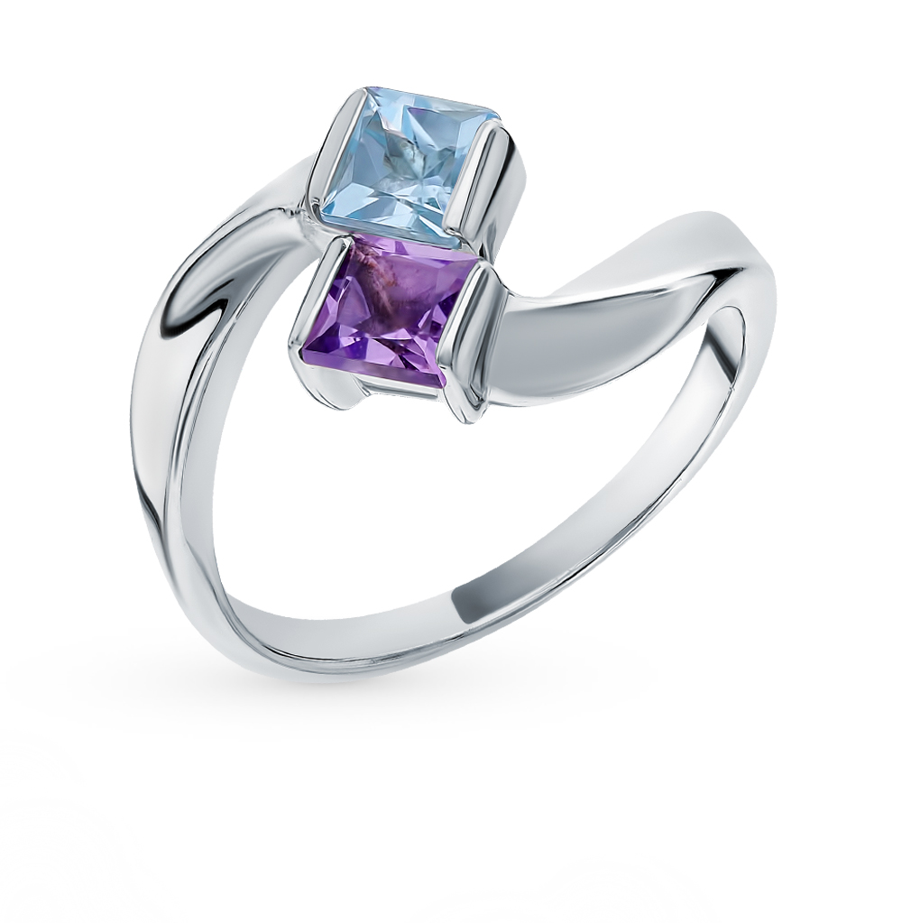 серебряное кольцо с аметистом и топазами
