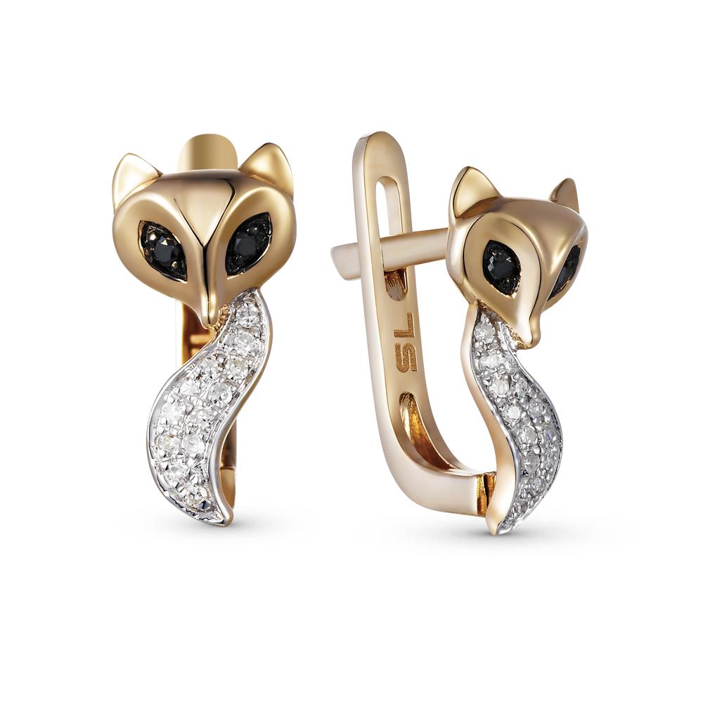 Золотые серьги с чёрными бриллиантами