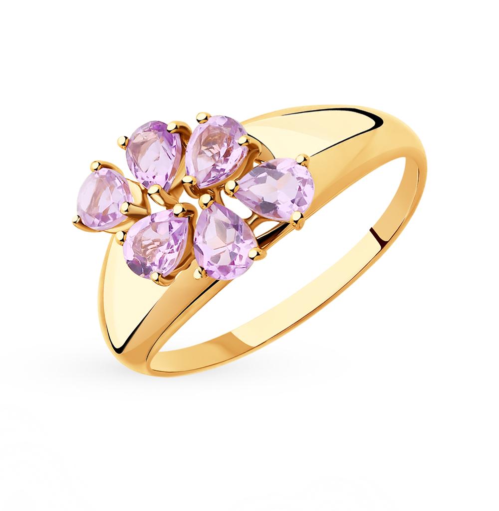 золотое кольцо с аметистом SOKOLOV 715399*