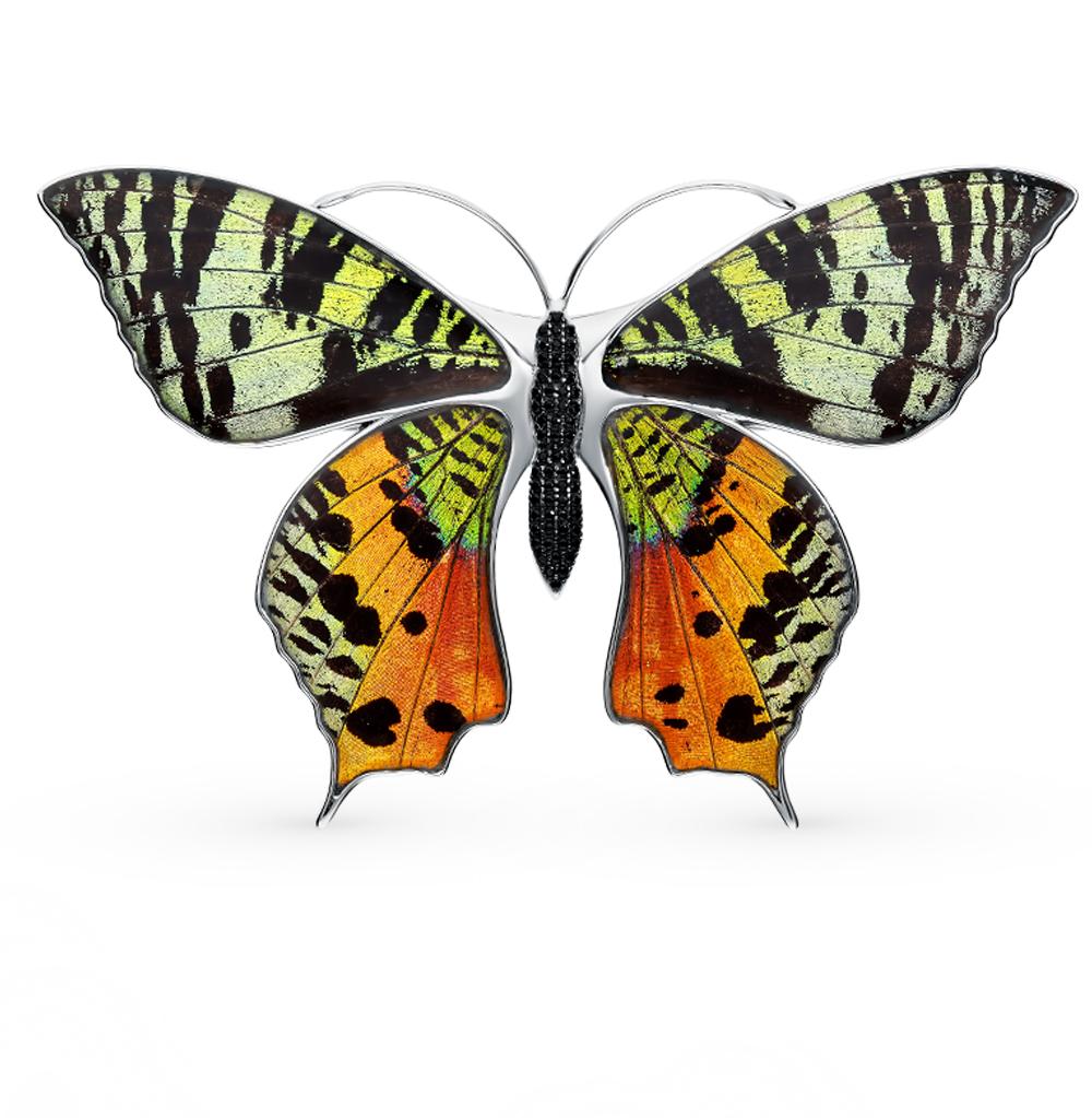 Фото «Серебряная брошь с фианитами, эмалью и крыльями бабочки, 9.5 см»
