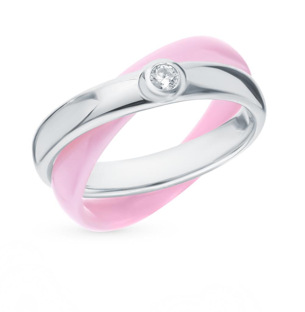 керамическое кольцо с фианитами и кубическими циркониями