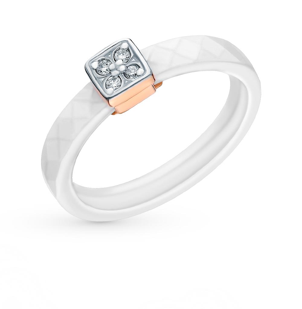 Фото «Золотое кольцо с керамикой и бриллиантами»