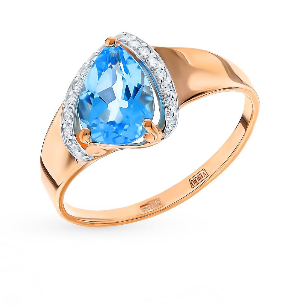 золотое кольцо с топазами и фианитами SOKOLOV 715267*