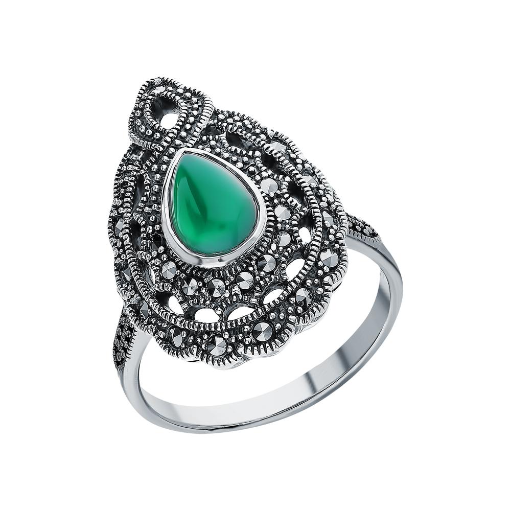 Серебряное кольцо с хризопразами и марказитами swarovski в Екатеринбурге