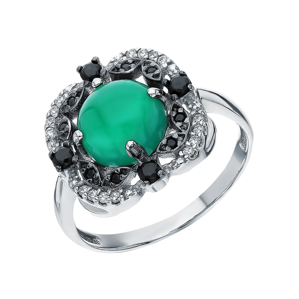 Серебряное кольцо с нанокристаллами, фианитами и агатом в Екатеринбурге