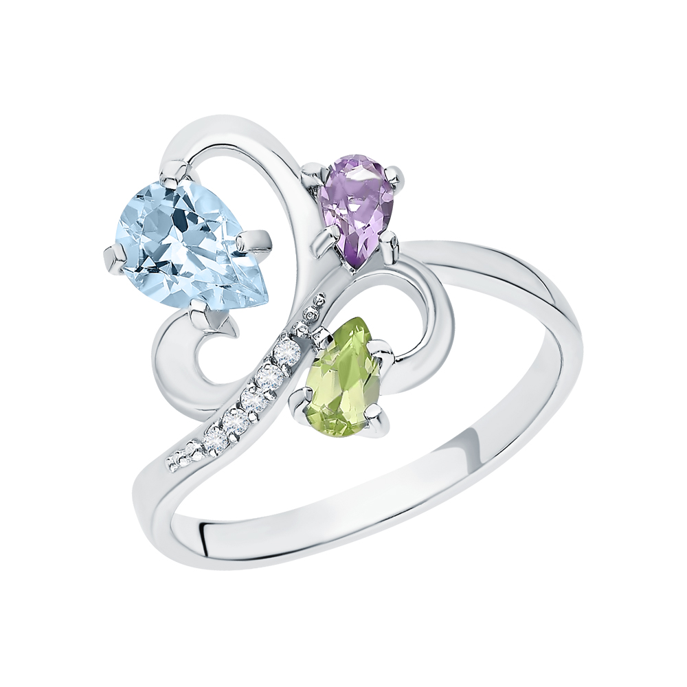 Фото «Серебряное кольцо с хризолитом, аметистом, топазами и фианитами»