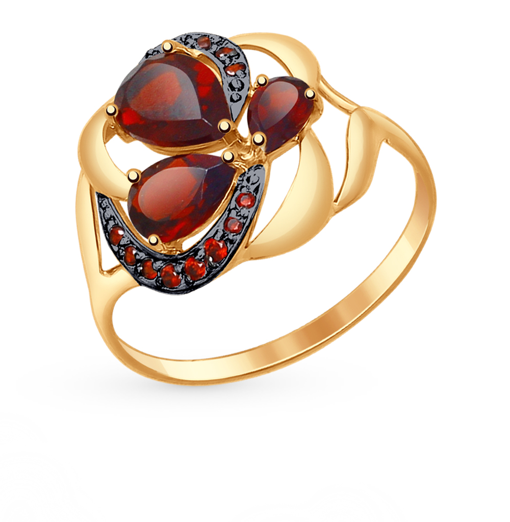 золотое кольцо с фианитами и гранатом SOKOLOV 714756*