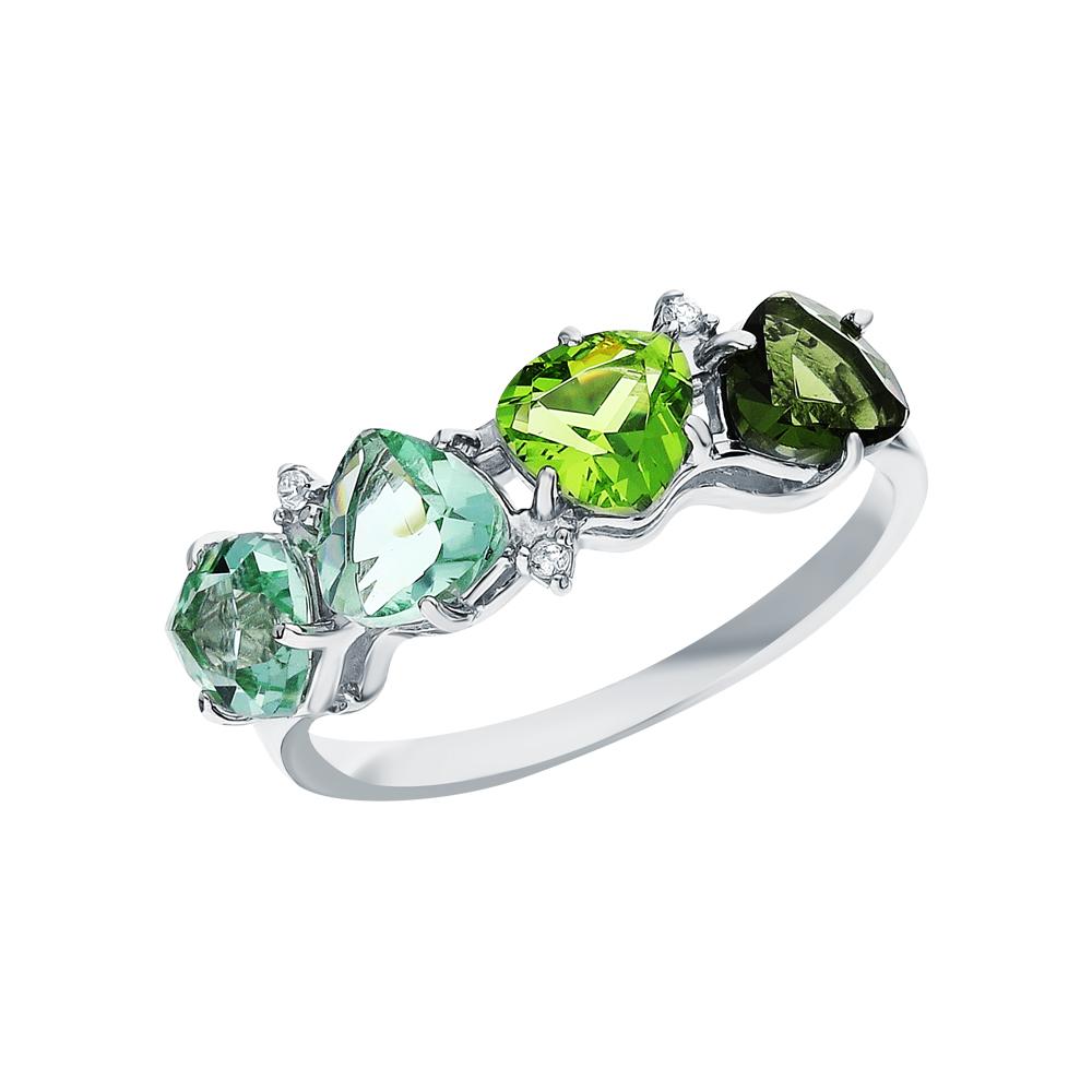 Фото «Серебряное кольцо с фианитами, хризолитами синтетическими, турмалинами имитациями и аметистами синтетическими»