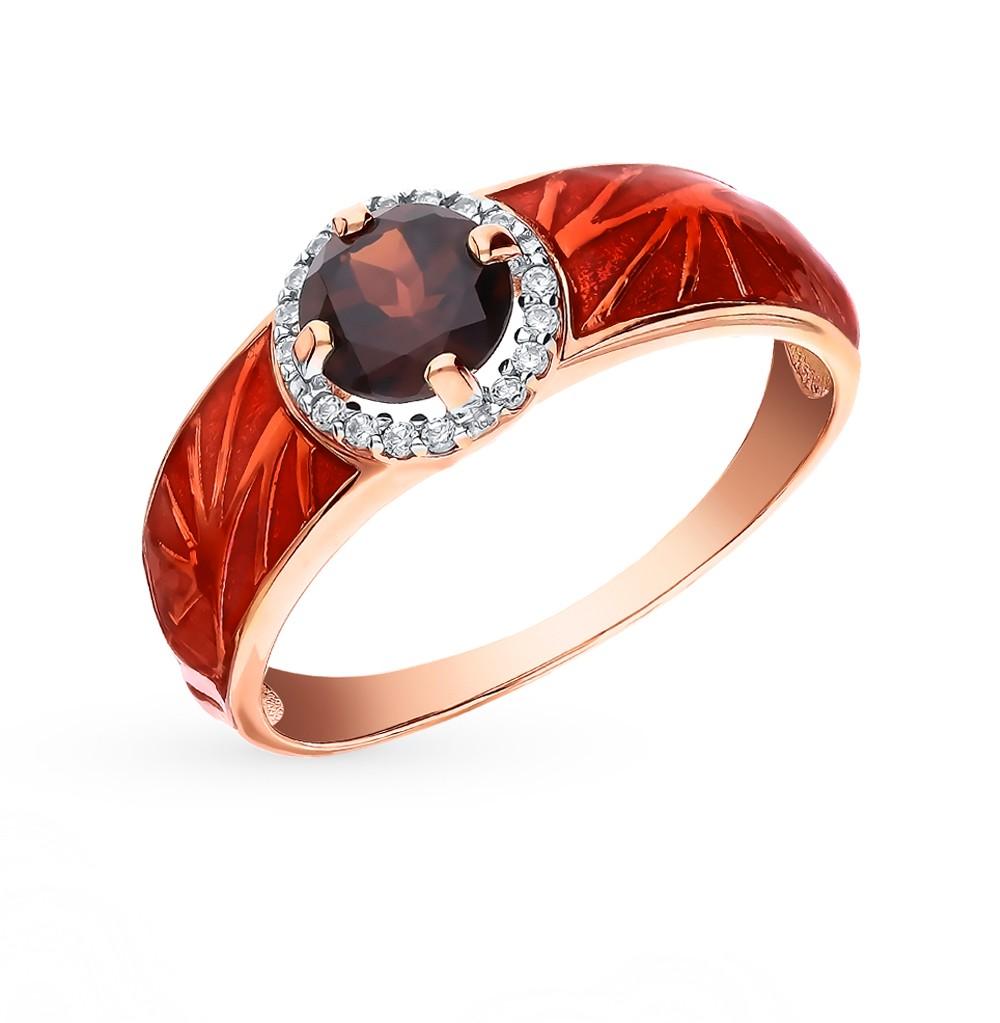 Фото «Золотое кольцо с фианитами, гранатом и эмалью»
