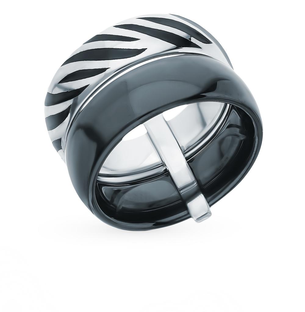 серебряное кольцо с керамикой и эмалью